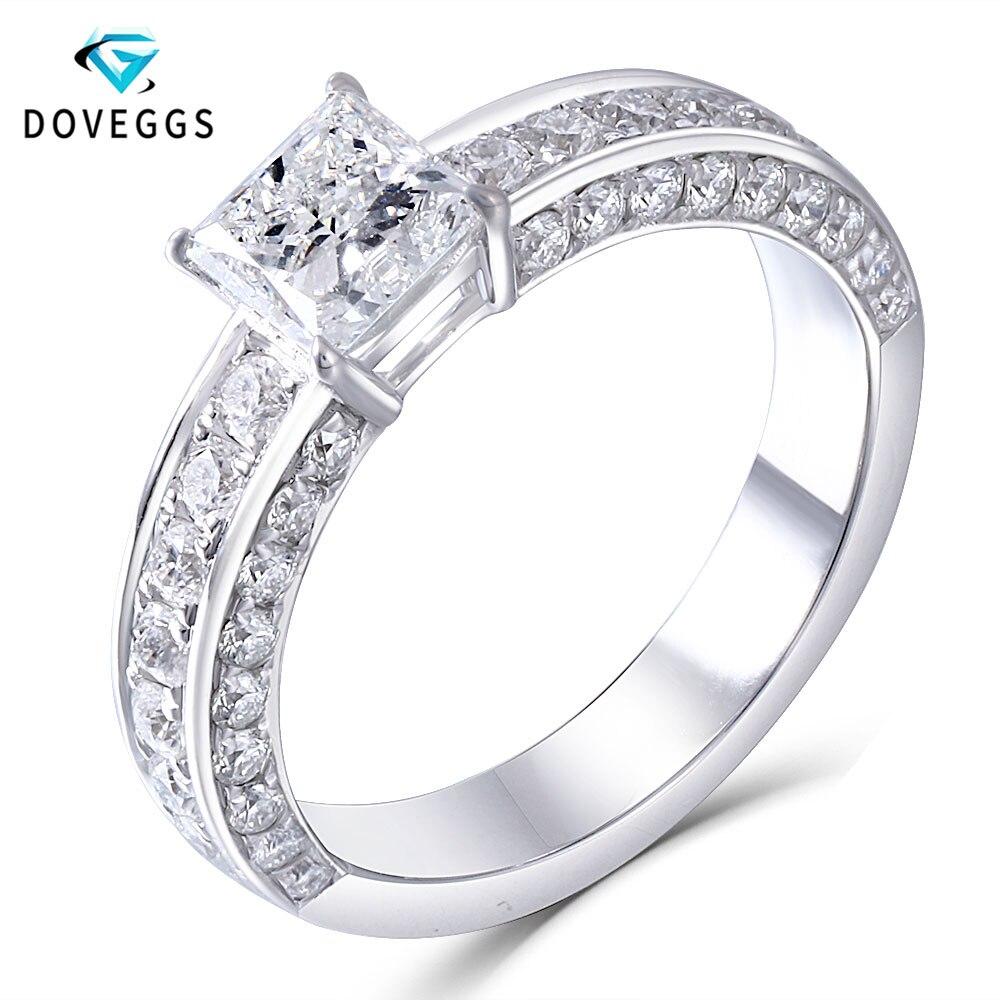 DovEggs sólido 14 k oro blanco 5,5mm princesa corte F Color Moissanite anillo de compromiso con acento delicado banda de boda para las mujeres-in Anillos from Joyería y accesorios    1