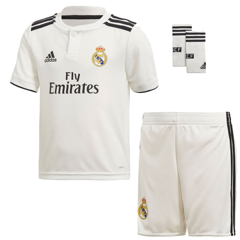 Original Boy-Football polyester real madrid 2018 2019 SET WHITE-soccer jerseys, REAL MADRID SHIRT