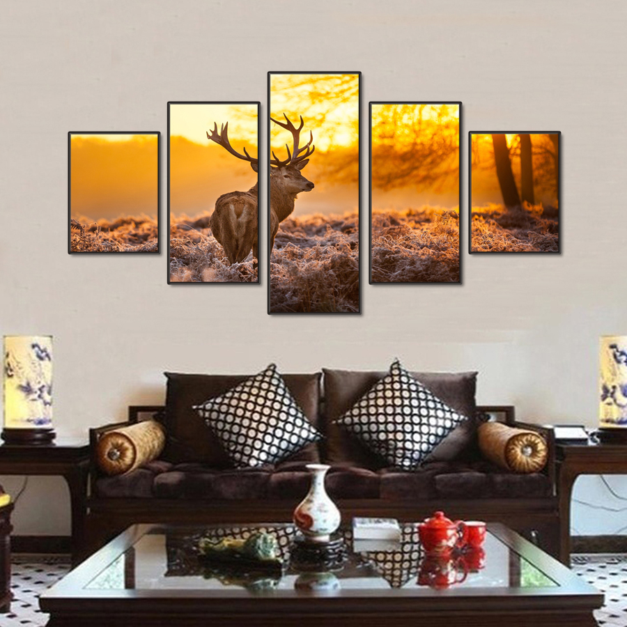5 stücke gelb landschaft malerei modernen haus küche decor leinwand kunst dekoration ziege deer modularen bilder