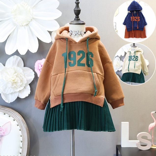 Baby Girl Hoodies Sweater Dress Letter Printed Fleece Dress Sweatshirts Kids Girls Winter Hooded Patchwork Dresses Sport Clothes
