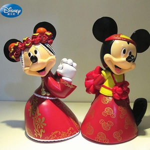 2pcs/lot 7 cm Minnie Mickey Mouse marry Action disney China red dolls kids Toy Figures wedding present kids gift(China)