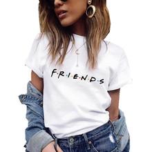 Letni T-shirt kobiecy z krótkim rękawem napis #8222 Friends #8221 na co dzień koszulki damskie duże rozmiary odzież damska tanie tanio Lghxlxry CN (pochodzenie) Lato Poliester spandex tops Tees REGULAR Tkane Drukuj xm008 WOMEN NONE O-neck