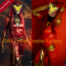 Free Shipping DHL Super Amazing X-Men Phoenix Jean Grey Shiny Metallic Gold&Red Superhero Zentai Catsuit Costume 2014 Halloween