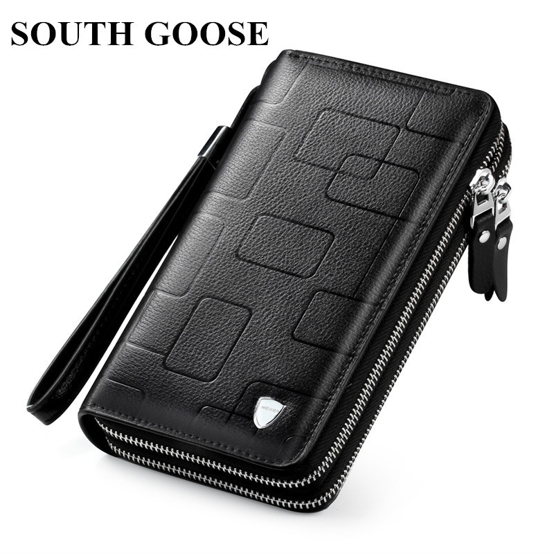 SOUTH GOOSE New Men Classic Wallet Luxury Long Clutch Handy Bag Male Business Leather Purse Large Capacity Men's Clutch Wallets