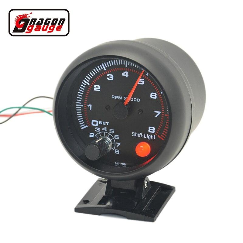 Dragon Gauge 3.75 inch(95mm) Auto Car White blacklight Tachometer gauge 0-8000 rpm For 4.6.8 cylinder warning function