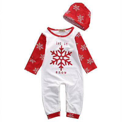2pcs baby set!newborn baby boys girls clothes Christmas long sleeve snowflake baby romper jumpsuit +hat baby cotton clothes set