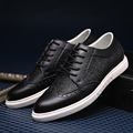YIQITAZER 2017 Split Leather Shoes Man Casual,Rubber Soles Lace Shoes Mens Leather Brogue Footwear Autumn Black Brown