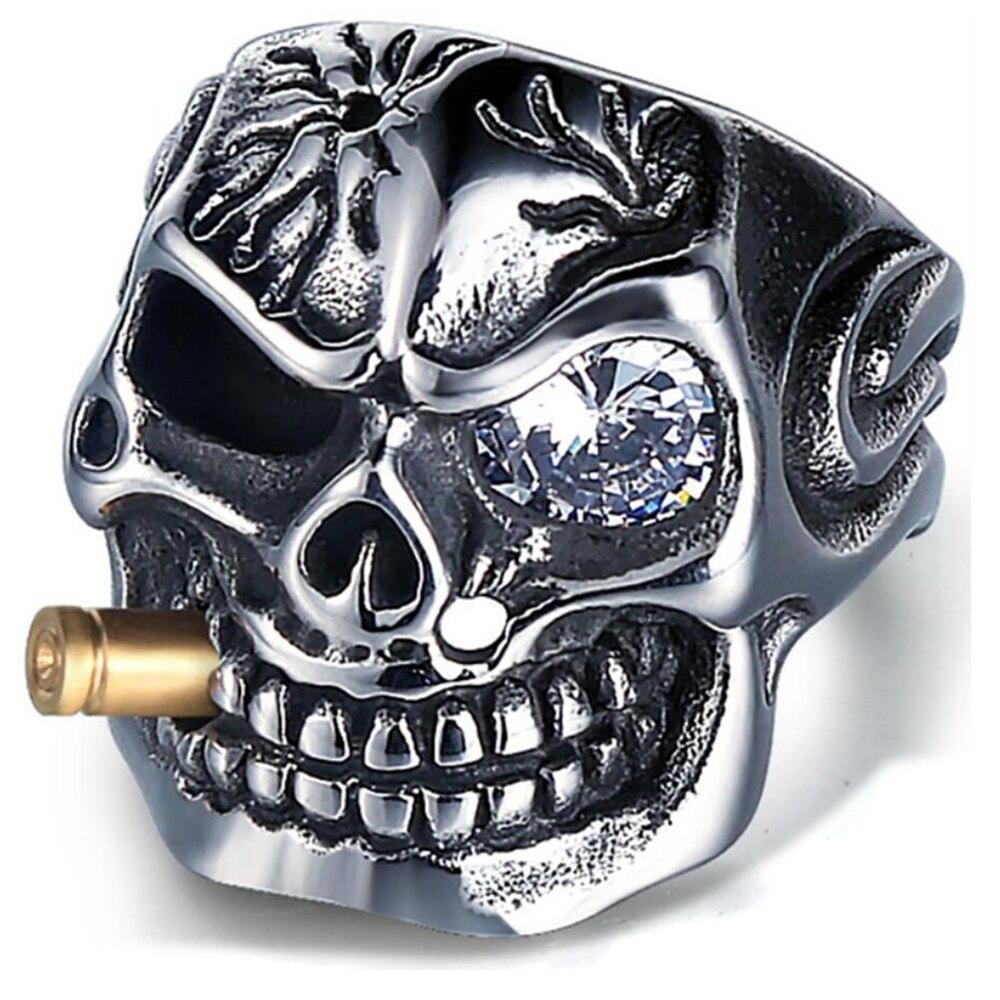 Los hombres del motorista del cráneo pirata esqueleto anillos Punk acero inoxidable con cristal joyería RETRA masculina decoraciones accesorio