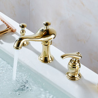 3 PCS Brass Bathroom Faucet Three Hole Basin Sink faucet Mixer Taps Cold Hot Water tap With Drain Soap Dispenser Chrome Gold