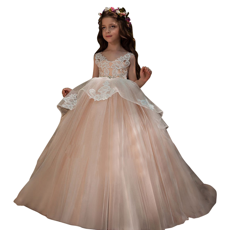 princess little girls dress beaded applique girls prom dress para menina vestido children ball gowns kids mesh girls fancy dress цены онлайн