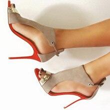 New fashion beige suede stiletto sandals.