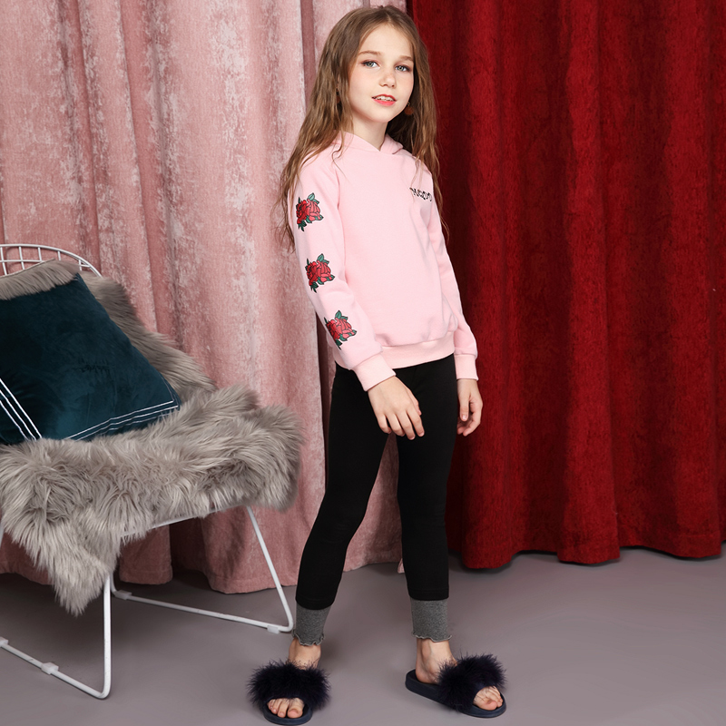 Girls' head sweater, spring and autumn sweet pink Pullover 2018 new medium and big children leisure long sleeves navy hooded design stripe pullover long sleeves tee