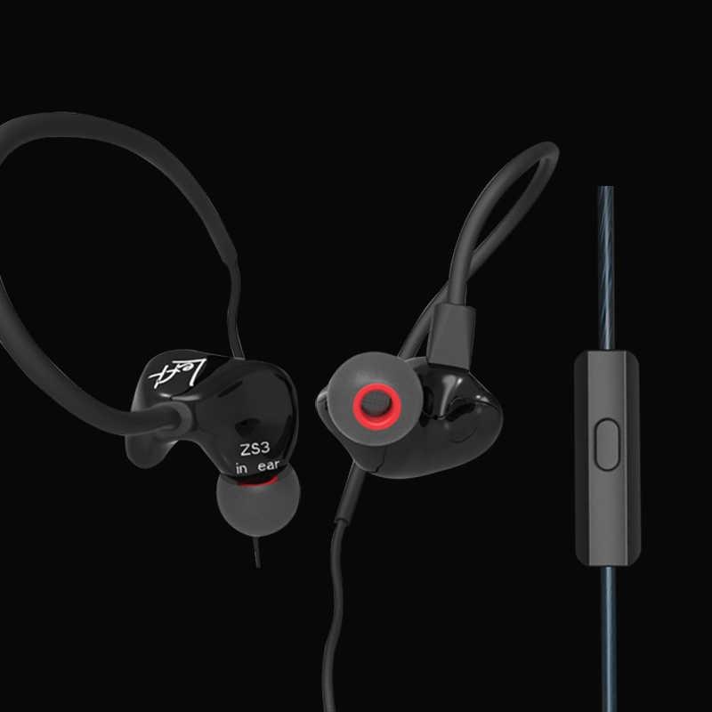 KZ ZS3 ergonomiczne odłączany przewód słuchawki w uchu monitory izolowanie szumów HiFi Audio muzyka sport słuchawki douszne z mikrofonem es