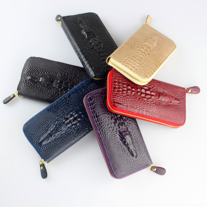 New leather brand women wallets , Crocodile 3D purse wholesale fashion leather Clutch bag , Free shipping Q6 new fashion women wallet leather brand wallets women wholesale lady purse high capacity clutch bag for women gift free shipping