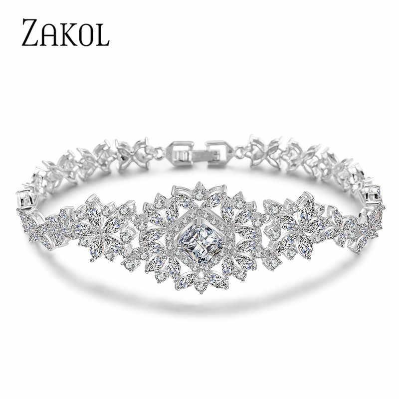 ZAKOL classique Micro incrustation cubique Zircon montre forme Bracelets/bracelet de luxe couleur argent fleur bijoux de mariage pour les femmes FSBP023