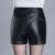 Pantalones Cortos de Cintura alta 2016 Otoño Invierno Para Mujer Pantalones Cortos De Cuero Negro M/L/XL/XXL/XXXL Plus tamaño de Punk Sexy Pantalones Cortos