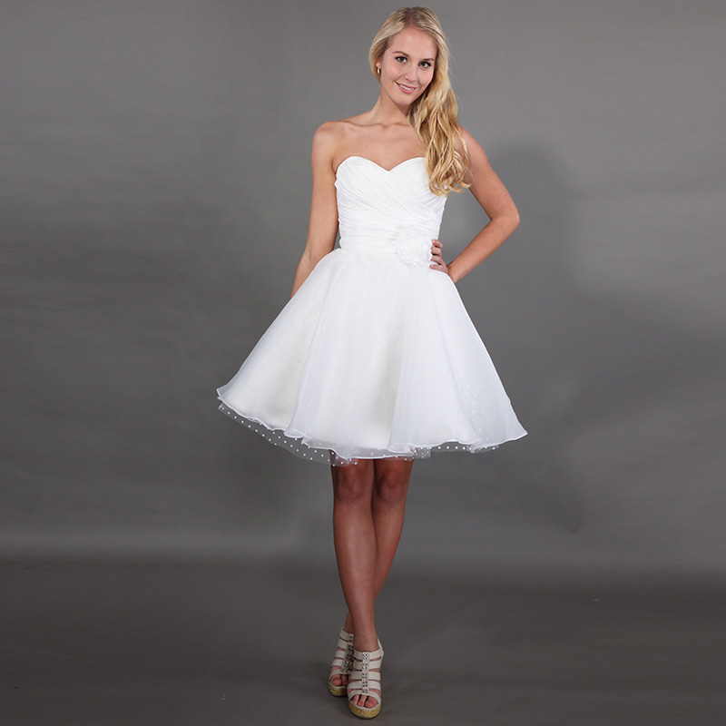 2019 Hot Sale Short Mini Wedding Dresses Sweetheart Neckline Pleats Taffeta Flowers Dot Tulle Organza Skirt