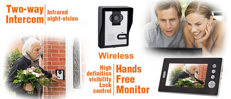 2.4 ГГц, 7 дюймов tft Экран цифровой беспроводной видео домофон