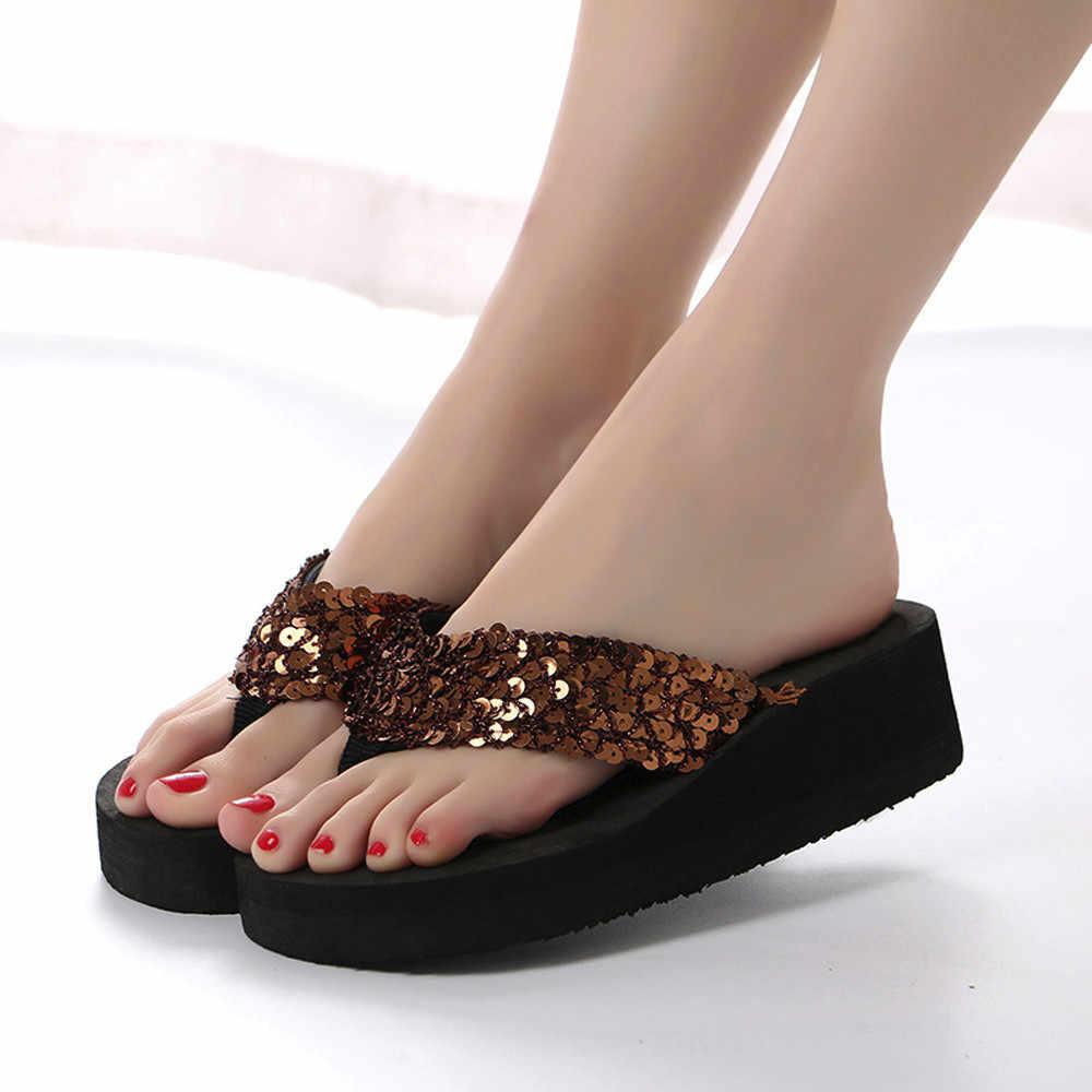 Yaz kadın Flip flop Casual Sequins kaymaz terlik plaj Flip düz sandalet plaj burnu açık ayakkabı bayanlar için ayakkabı 3