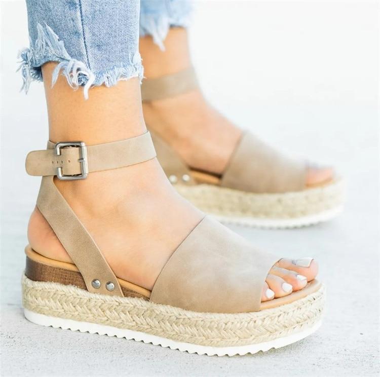 HTB1GlBZN4TpK1RjSZFKq6y2wXXaY 2019 Summer Womens Casual Espadrilles Trim Rubber Sole Flatform Studded Wedge Buckle Ankle Strap Open Toe Sandals
