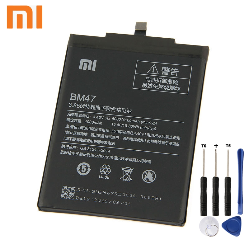 Xiao <font><b>Mi</b></font> Xiaomi BM47 Phone <font><b>Battery</b></font> For Xiao <font><b>mi</b></font> Redmi 3 3S 3X Hongmi <font><b>4X</b></font> Redmi3 Pro Redrice 3 4000mAh BM47 Original <font><b>Battery</b></font> + Tool image