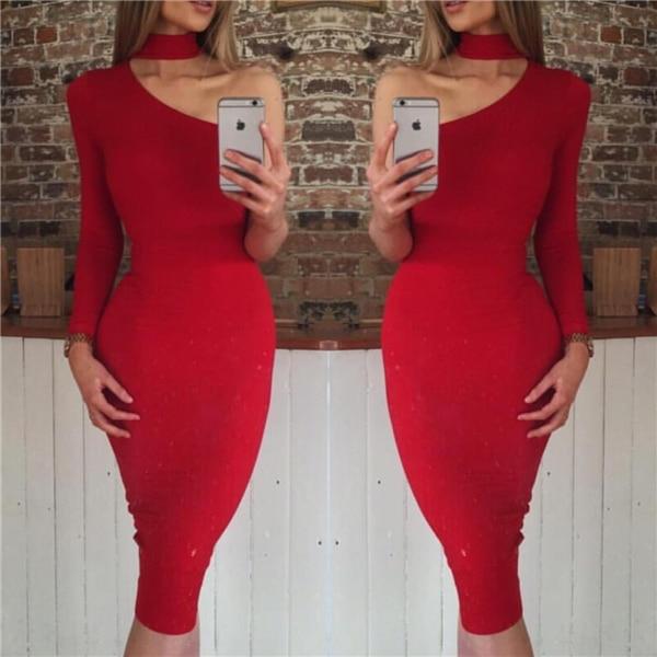 2018 vente directe vente Polyester Sexy & Club plein évider robe de grande taille femme robe couleur unie col rond Sexy femme