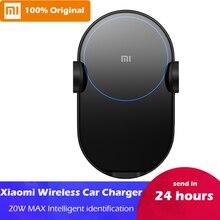 В наличии Оригинальное беспроводное автомобильное зарядное устройство Xiao mi 20 Вт Max Electric Auto Pinch 2.5D стекло Qi Smart Quick Charge быстрое зарядное устройство для mi