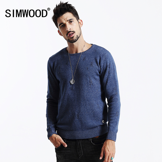 Simwood ropa de la marca 2016 nueva otoño invierno hombre de manga larga de algodón prendas de punto suéter de la manera ocasional my2014