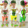 2015 Summer Brand Cotton Soft T-shirt+Shorts Children' set Cute Dinosaur Boys Girls Casual Sets So Cool Kids Sport Suit 2-6 Year