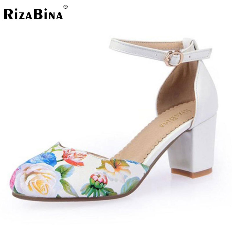 RizaBina size 33-43 fashion ankle strap round toe high heel sandals floral print brand dress footwear shoes for women PD00097 loafers fashion round toe slip on women pumps female high heel shoes girls floral top quality brand footwear big size 43