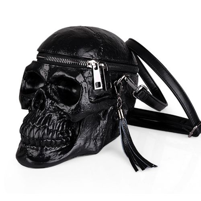 2018 Punk mujeres originalidad bolso divertido negro cabeza esquelética handbad hombres solo paquete Fashion Designer Satchel paquete bolsas cráneo