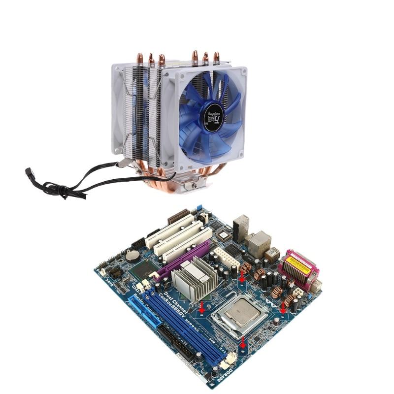NoEnName_Null 12V Dual CPU Cooler Blue LED 3Pin Fan Aluminum Heatsink For Intel LGA775  AM3 12v dual cpu cooler blue led 3pin fan aluminum heatsink for intel lga775 amd am3 1pc thermal grease