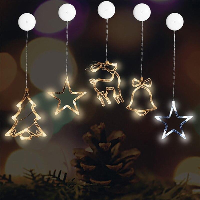 Рождество украшения свет Рождество фестиваль партия Батарея LED присоски Декор окна Фея Света ...