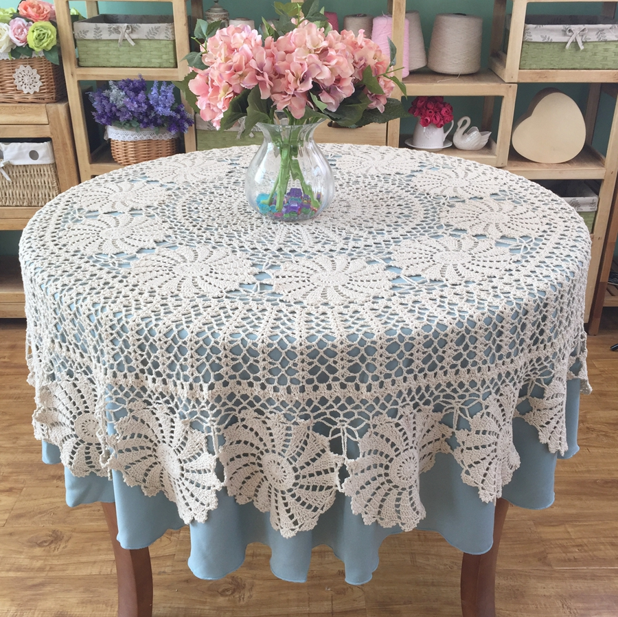 Handmade Crocheted Vintage Round Tablecloth Crochet Lace