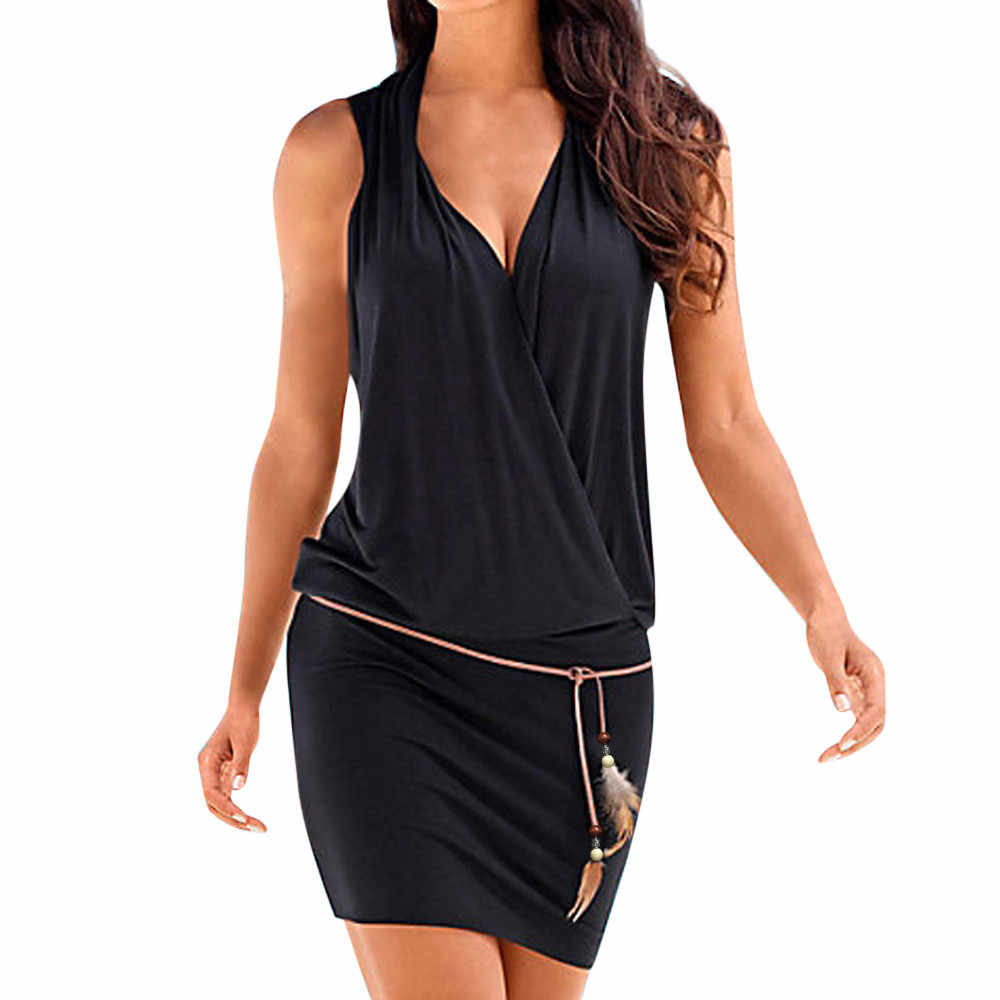 FREE OSTRICH Casual Womens Summer Dress Retro Party Beach Beach Sun Dress Office Lady V-neck Sleeveless Loose Workwear