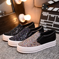Pu Leather Glossy Sequin Shoes Woman 2017 Brand Casual Fashion Autumn Low Cut Flat Pedal Shoes Women Slip on Tenis Feminino Hot