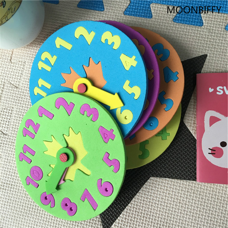 1 Piece 3-6 Years Old Kids DIY Eva Clock Learning Education Toys Fun Jigsaw Puzzle Game For Children Baby Toy Gifts Random