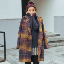 New British style plaid coat fashion high quality woolen casua outwear turn collar Jacket yellow trench girls elegance clothing