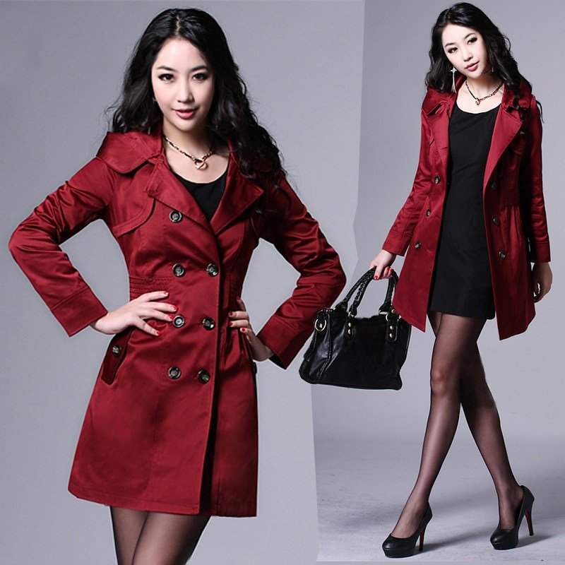 XXXL Autumn Fashion Womens Medium Long Windbreaker , Red Black Hooded Trench  Coat , Slim Formal - Compare Prices On Red Women Trench Coat- Online Shopping/Buy Low
