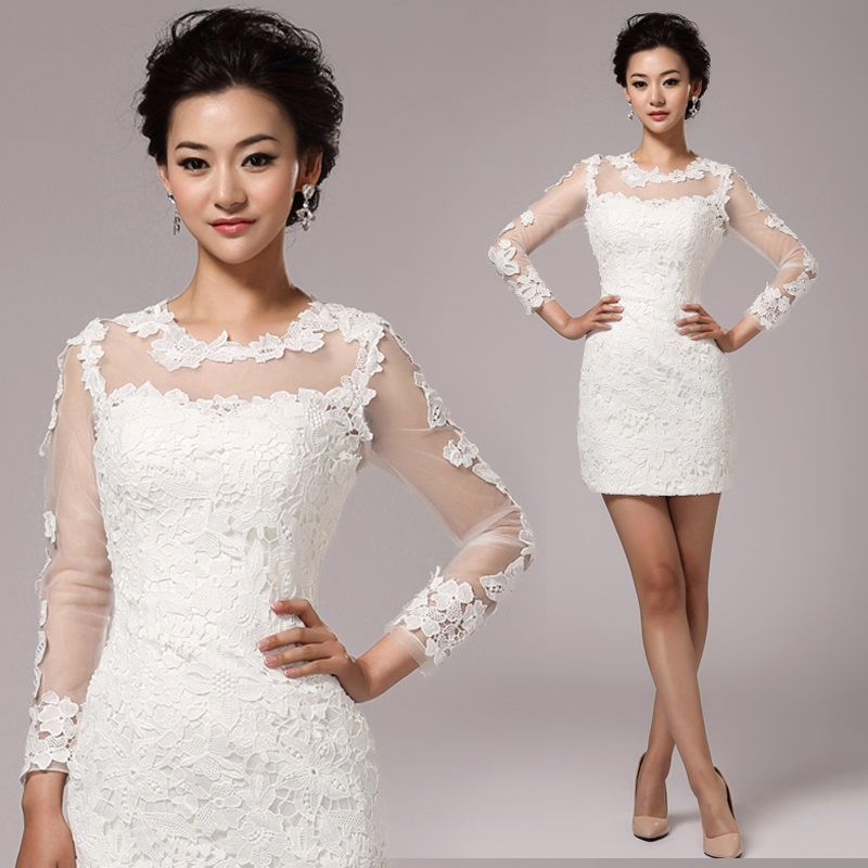 White Lace Long Sleeve Sheath Mini Bride Gown