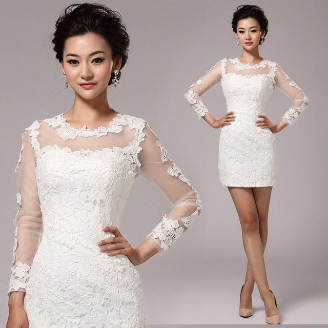 White Lace Flowers Long Sleeve Sheath Formal Short Tail Party Dress Mini Prom Dresses Engagement Bride