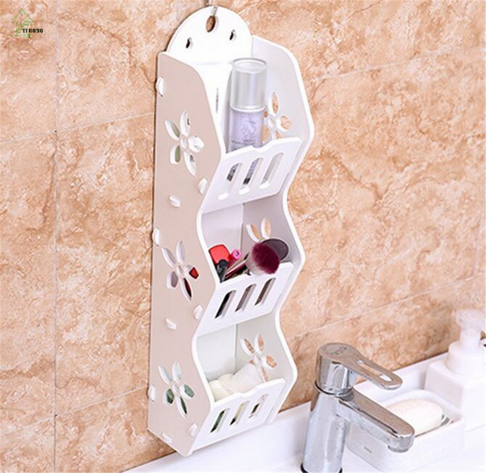 DIY Detachable Wood plastic board rack bathroom wall shelf desktop ...