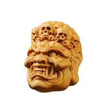 4CM Wooden Skull Pluto Hell Devil Fudo Statue Head Wood Carving Evil Statue Car Pendant Decoration