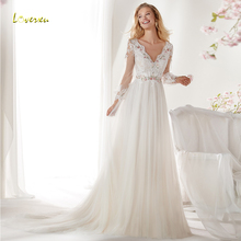Loverxu V-Neck Wedding Dress Lantern Sleeve Bride Dress
