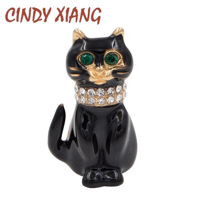 CINDY XIANG Cute Rhinestone Black Cat Brooches for Women Small Animal Green Eye