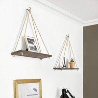 Pendurado planta de madeira prateleira pequena casa peças de armazenamento rack parede corda pendurado prateleira quarto sala estar decoração escritório|Prateleiras decorativas| |  -