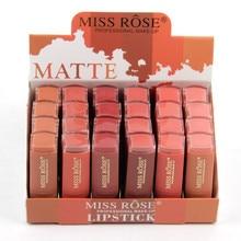 24PCS/LOT Smooth Moisturiz Lipstick Sexy Red Paint MakeUp LipStick Pigment Nutritiou Cosmetic Lip Tint Nude Matte Batom