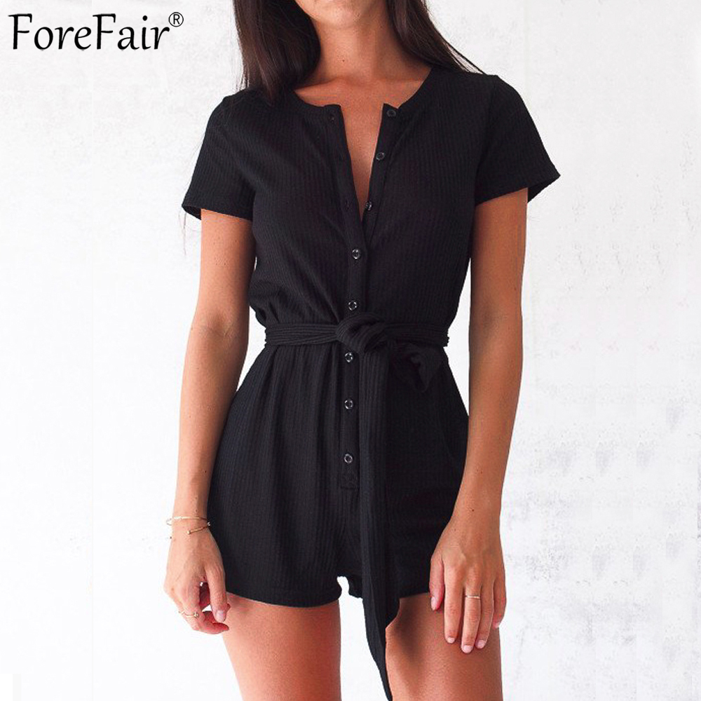 ForeFair Front Buttons Casual Knitted Rompers Womens Jumpsuit Short Sleeve Sexy Playsuits Plus Size O Neck Solid Overalls
