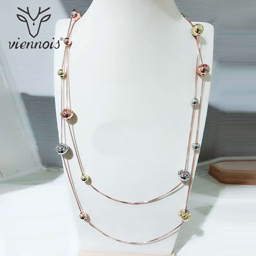 Viennois New Round Sweater Chain Rose Gold Long Necklace For Women Trendy Style Female Party Jewelry trendy copper tube sweater chain for women