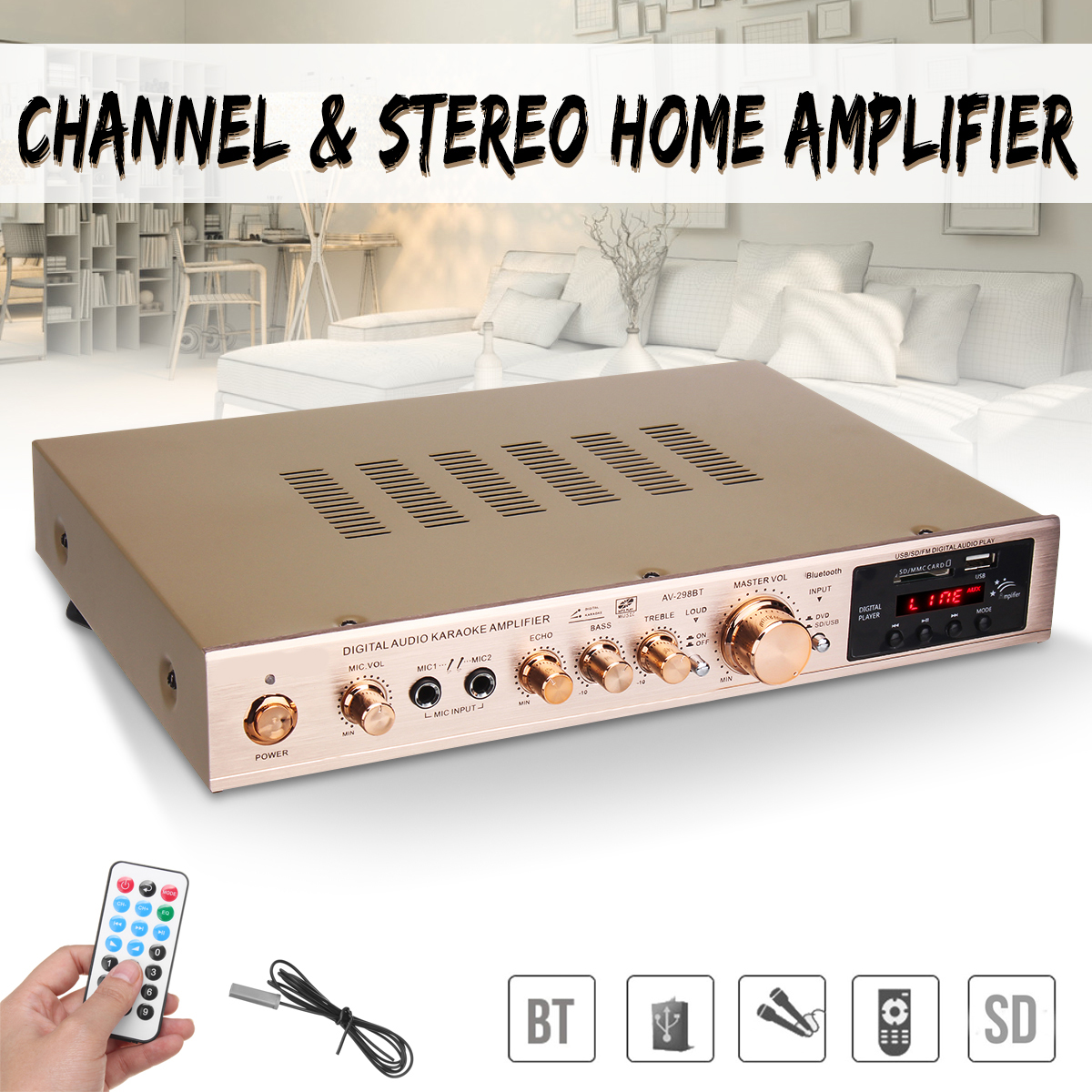 720W 5 Channel Home Amplifier Audio Digital Auto Car AV HiFi Class Power Amplifiers Stereo Sound FM Radio Player Aluminum Alloy 800w universal bluetooth car auto stereo power amplifier car sound wireless amplifier 2 channel eq hifi stereo audio amplifiers